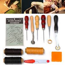 13pcs leather craft tools kit hand sewing stitching punch carving work saddle leathercraft accessories