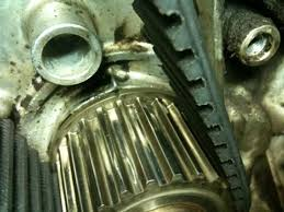 1989 3vze 3 0 v6 replace water pump and timing belt if not rotate the motor clockwise until the marks all line up picture of marks on crank timing belt pulley