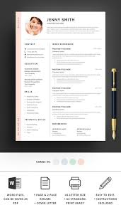 Cv Templates Word 2007 Resume Template Word Professional 1 Page Resume 2 Page Resume Modern Clean Creative Resume Cv Template Cover Letter Instant Download