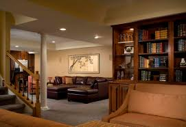basement interior design ideas. Low Ceiling Small Minimalist Basement Remodel Design With Old Furniture Interior  And Brown Leather Sofa Chaise Ottoman Table Plus Fabric Basement Interior Design Ideas R