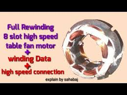full rewinding 8 slot high sd table fan motor hindi आठ सल ट ह ई स प ड ट बल fan म टर winding