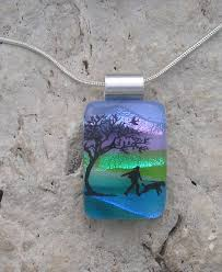 scenery dichroic fused glass jewelry by