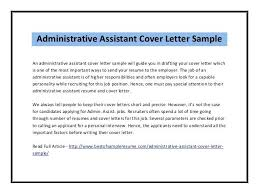 Administrative Position Cover Letter Administrative Assistant