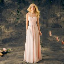 Light Pink Bridesmaid Dresses Long 2019 New Real Sheer Round Neck Sleeveless A Line Long Chiffon Junior Cheap Maid Of Honor Dresses For Wedding Baby Pink Bridesmaids Dresses Light Pink