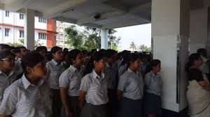 students at garden high school in kolkata india line up for their assembly
