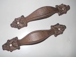 6 Large Cast Iron Antique Style FANCY Barn Handle Gate Pull Shed Door Handles 5