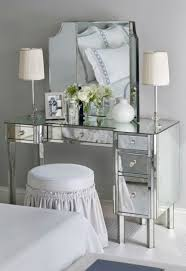 enchanting mirrored makeup vanity set at bedroom with lights make up desk home and furniture