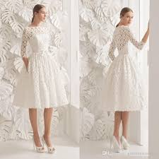 discount gorgeous knee length wedding dresses bateau neck a line 3