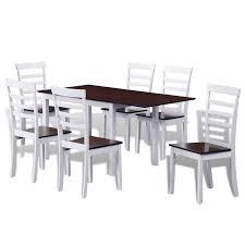 Nur 29186 Braun Weiß Massivholz Erweiterung Esstisch Set Mit 6