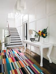 classy entryway decoration colorful carpet tile flooring runner rug design idea dark pergo wooden floor all white interior decorating rectangle bench with