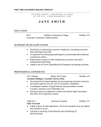 Resume For Full Time Job