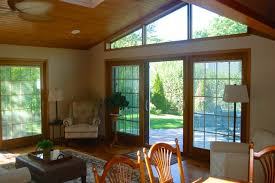 Vaulted Beaded Ceiling with Trapezoid Windows contemporary-family-room