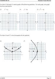 for each graph also graph the focus and directri 3 6 4