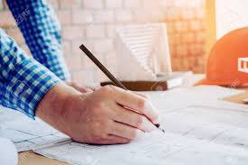 architect office supplies. Architect Or Engineer Working In Office On Blueprint. Architects Workplace Stock Photo - 93855506 Supplies
