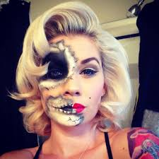 pinup day of the dead marilyn monroe skull face paint for a costume