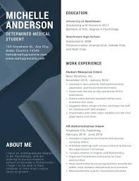 blue modern resume template modern day resume navy blue and white simple modern side photo
