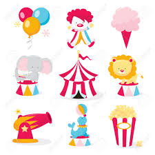 A vector illustration set of cute circus theme clip arts like ...