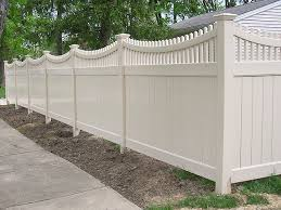 Vinyl Good Neighbor Privacy Fence With Scalloped Top Rail by Elyria