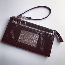 Coach Poppy Black Patent Leather Wristlet