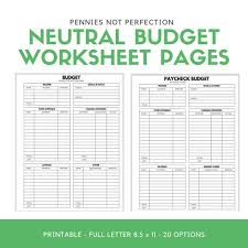Keeping A Budget Worksheet Budget Worksheet Printable Neutral Monthly Budget Paycheck Budget Printable Pages