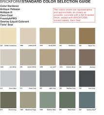 Solomon Concrete Color Chart Brickform Standard Color Selection Guide Janell Concrete