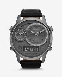 40% off select men s watches shop watches for men extra large analog and digital leather strap watch