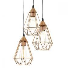 eglo tarbes 3 light cer copper steel cage pendant