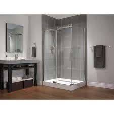 delta 48 in x 72 in semi framed sliding shower door in stainless