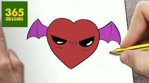 Comment Dessiner Coeur Vampire Kawaii Tape Par Tape Dessins