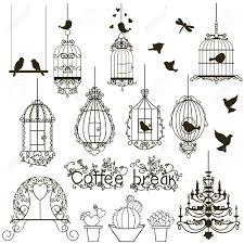 ビンテージ鳥や鳥かごのコレクションです白で隔離されますクリップアートベクトル