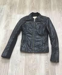 details about mango las soft black genuine leather jacket uk 8 eur s