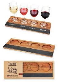 rustic farmhouse collection acacia wood wine flight board by twine personalized gifts and party favors