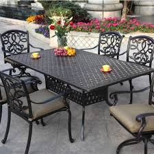 furniture black iron outdoor rectangle table with chair using arm and carved back with wrought