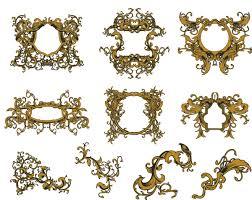 golden vintage ornate frames set vector