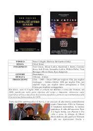 TITOLO Nato il 4 luglio (Born on the fourth of July) REGIA Oliver Stone  INTERPRETI Tom Cruise, Bryan Larkin, Raymond J. Barry, C