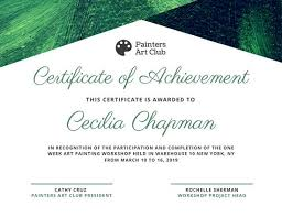 Cooking Certificate Template Classy Green Paint Achievement Certificate Templates By Canva