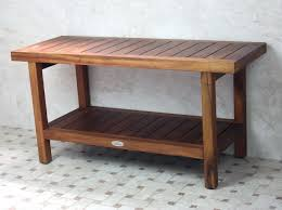 long teak wood shower bench with storage