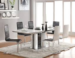 furniture rectangle white glossy dining table and black white dining chairs on white fur rug
