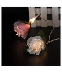 Fiber Optic Blossom Led String Lights Fiber Optic Rose String White Powder Phase Flower Decorative