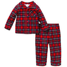 Little Me Boys Holiday Plaid Christmas Pajamas - Red Flannel - 4T ...