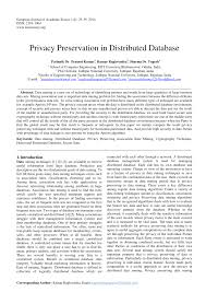 privacy preservation in distributed database pdf available