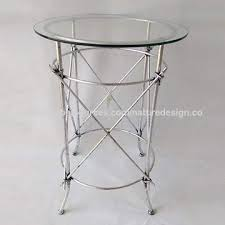 luxury round end table metal side table glass table top silver frame base modern table