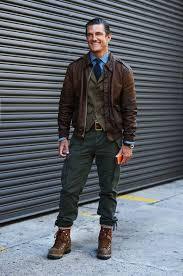 men s dark brown leather barn jacket olive waistcoat blue long sleeve shirt dark green cargo pants men s fashion