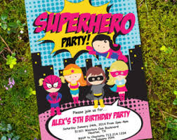 superheroes party invites girl superhero party invitations oxsvitation com