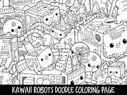 Cute Kawaii Food Coloring Pages Monsters Doodle Page Printable Moonoon