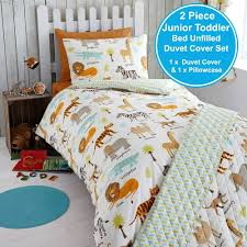 details about safari animals uk junior us toddler unfilled duvet cover pillowcase set new