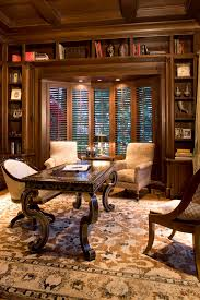 traditional office decor. Office Bay Decoration With Brown Desk Hutches Home Traditional And Built In Book Shelves Decor