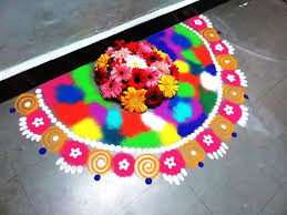 Side Rangoli Designs For Diwali How To Make Wall Side Half Circle Rangoli Design Created