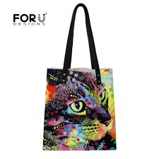 forudesigns designer bags for women 2018 dye animal cat and dog printing large leather handbags shoulder top handle purse wallet leather satchel las bags
