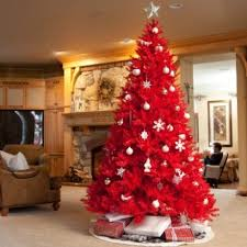 Red tree with all white ornaments